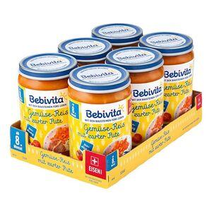 Bebivita Menü Gemüse-Reis mit zarter Pute 220 g, 6er Pack