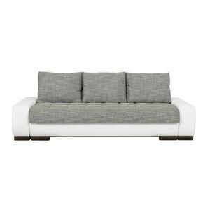 SCHLAFSOFA Lederlook, Webstoff Grau, Weiß