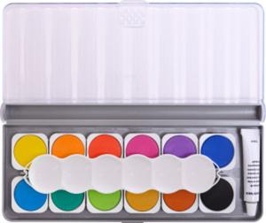 Eberhard Faber - Deckfarbkasten - 12  Farben, Deckweiß und Mischpalette