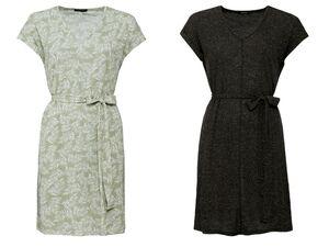 ESMARA® Kleid Damen, luftige Qualität, mit Bindeband in der Taille, mit Leinen