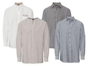 LIVERGY® Hemd Herren, aus Leinen und Baumwolle