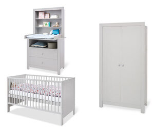 Pinolino Baby-Zimmer-Set »Liv«, Kleiderschrank 2-türig, Wickelkommode breit, grau
