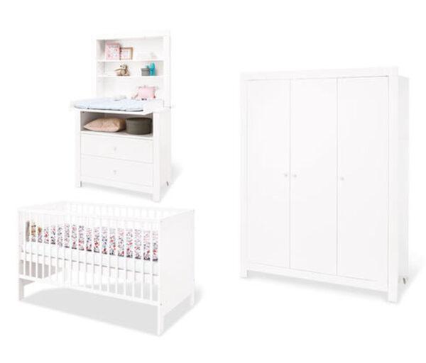 Pinolino Baby-Zimmerset »Liv«, Kleiderschrank 3-türig, Wickelkommode breit, weiß