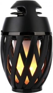Näve LED Akku-Tischleuchte Mona mit Lautsprecher mit Bluetooth-Lautsprecher, Flammeneffekt, schwarz