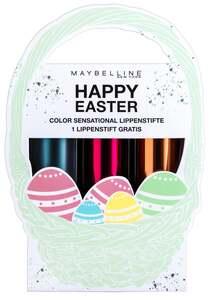 Maybelline New York Geschenkset Osterkörbchen 2: 3 Color Sensational Lippenstifte (207, 148, 942)