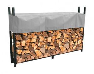 Grasekamp Metall Kaminholzregal 238 x 35 x 120 cm 1,4 RM mit Schutzhülle Grau Holzregal Kaminholzunterstand Stapelhilfe