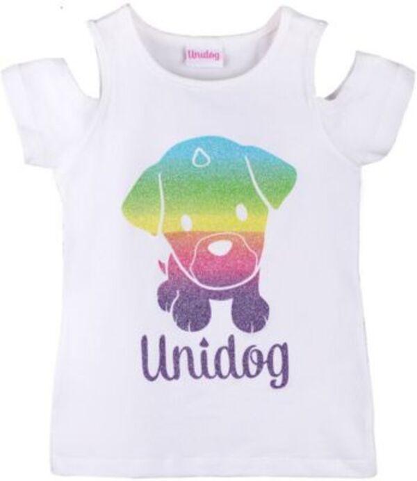Unidog T-Shirt mit Glitzerprint und Cut-Outs  weiß Gr. 104 Mädchen Kleinkinder