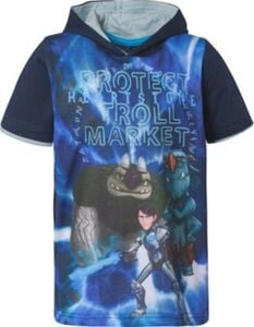 Trolljäger T-Shirt mit Kapuze  blau Gr. 140/146 Jungen Kinder