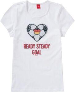 T-Shirt mit Wendepailletten , Fußball weiß Gr. 176 Mädchen Kinder