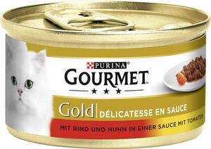 Purina Gourmet Gold mit Rind & Huhn in Sauce mit Tomaten Katzenfutter nass 85 g