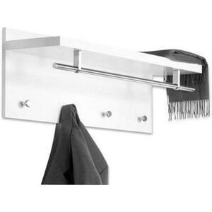 Carryhome Wandgarderobe weiß, edelstahlfarben  , Pablo 3 , Metall , 75x30x26 cm , Hochglanz, lackiert,Nachbildung , Hutablage , 001931059501