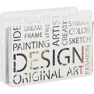 XXXLutz Zeitungsständer metall weiß  , Design , Schriftzug , 35x28x10 cm , lackiert , 001931004601