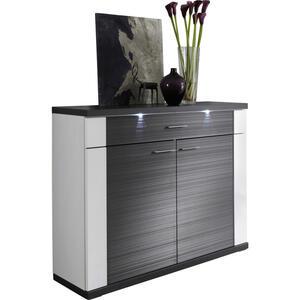 Xora Kommode graphitfarben, weiß  , Manhattan , Holzwerkstoff , 2 Fächer , 2 Schubladen , 129x107x42 cm , Nachbildung , individuell planbar, stehend, Beleuchtung,individuell planbar, stehend, Beleu