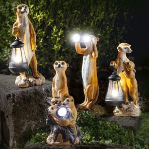 I-Glow LED-Solar-Erdmännchen mit Familie & Laterne