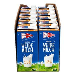 Hansano haltbare Weidemilch 1,5% 1 Liter, 12er Pack