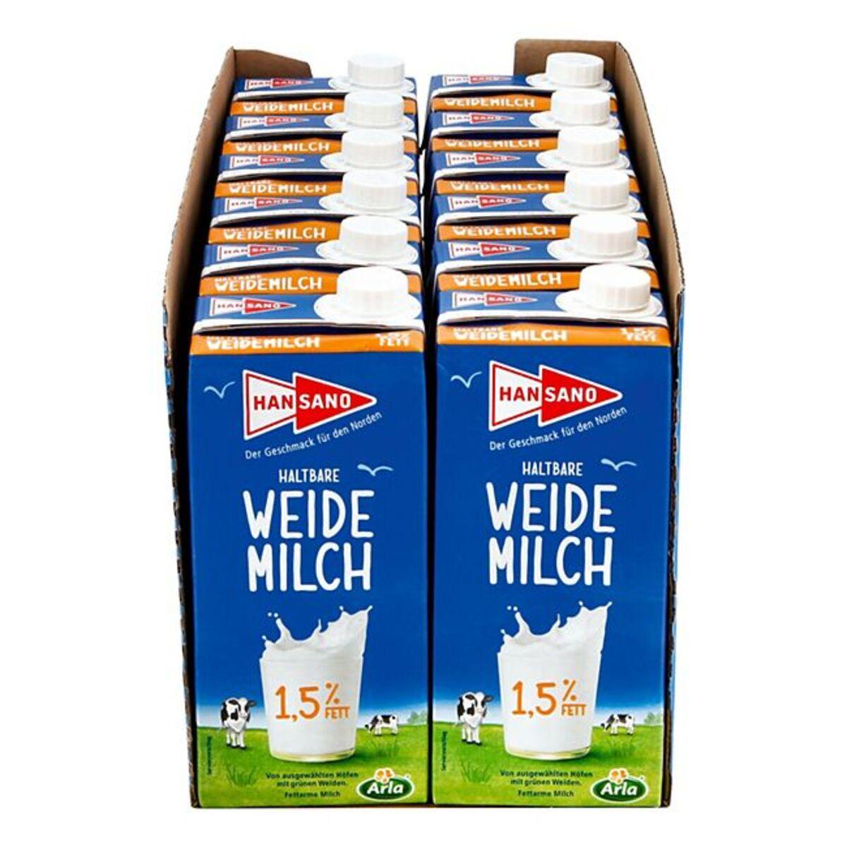 Bild 1 von Hansano haltbare Weidemilch 1,5% 1 Liter, 12er Pack