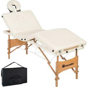 4 Zonen Massageliege Kim mit Polsterung und Holzgestell weiß