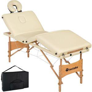4 Zonen Massageliege Kim mit Polsterung und Holzgestell creme