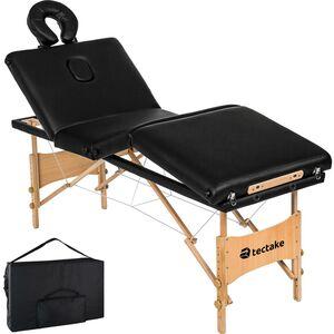 4 Zonen Massageliege Kim mit Polsterung und Holzgestell schwarz