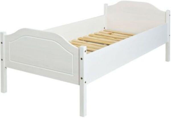 Einzelbett Karlo, Kiefer massiv, weiß, 90 x 200 cm