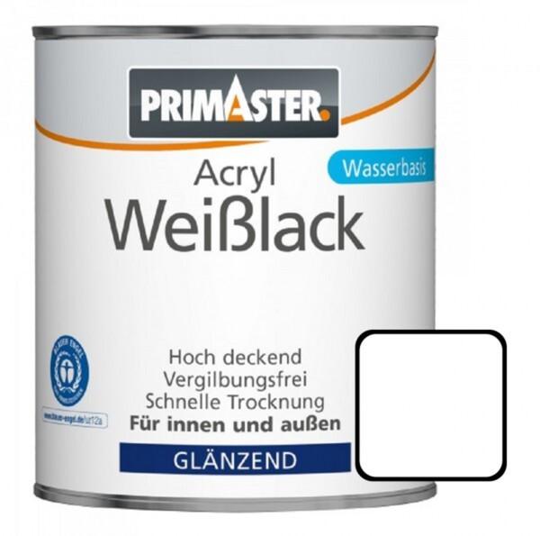 Primaster Acryl Weißlack 750 ml, glänzend