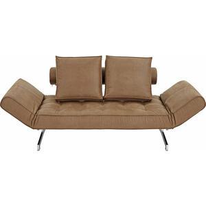 Innovation Schlafsofa lederlook braun  , Ghia 551 , Textil , 2-Sitzer , 180-210x68x90 cm , verchromt,Lederlook , Liegefunktion , 001658000301