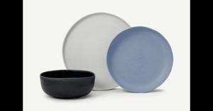 Ingram 12-tlg. Geschirrset, Grau, Indigoblau und Blau - MADE.com