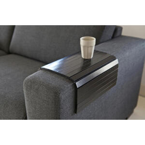Carryhome Sofatablett birke massiv 45/1/36 cm schwarz , Sofatablett Xl , Holz , 45x1x36 cm , lackiert,Echtholz , flexibel, für Armlehnen , 001883002106