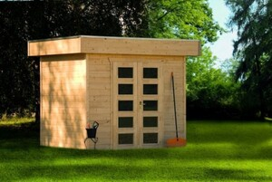 SKAN HOLZ Gartenhaus Venlo Größe 1, 250 x 250 cm, Wandstärke 28 mm, unbehandelt