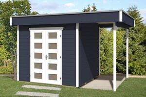 SKAN HOLZ Gartenhaus Venlo Größe 2, 250 x 250 cm + seitliche Überdachung 130 x 250 cm, Wandstärke 28 mm, schiefergrau