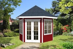 SKAN HOLZ Pavillon Almelo Größe 350 x 303 cm, Wandstärke 28 mm, schwedenrot