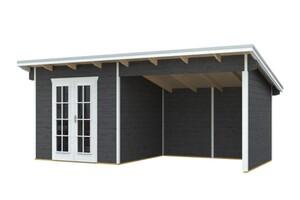 SKAN HOLZ Gartenhaus Texel Größe 550 x 250 cm, Wandstärke 19 mm, unbehandelt