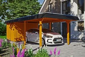 SKAN HOLZ Carport Wendland 362 x 870 cm mit Abstellraum, mit Aluminiumdach, schwarze Blende, eiche hell