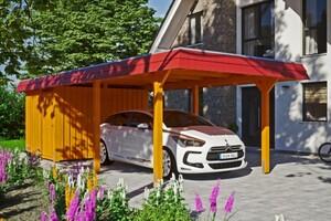 SKAN HOLZ Carport Wendland 362 x 870 cm mit Abstellraum, mit Aluminiumdach, rote Blende, eiche hell