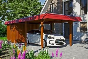 SKAN HOLZ Carport Wendland 362 x 870 cm mit Abstellraum, mit Aluminiumdach, rote Blende, nussbaum