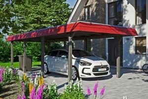 SKAN HOLZ Carport Wendland 362 x 870 cm mit Aluminiumdach, rote Blende, schiefergrau