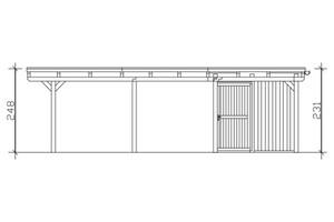 SKAN HOLZ Carport Emsland 613 x 846 cm mit Aluminiumdach, mit Abstellraum, schiefergrau