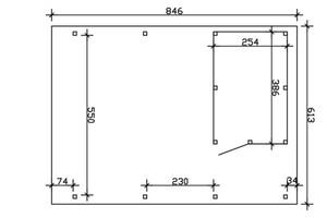 SKAN HOLZ Carport Emsland 613 x 846 cm mit EPDM-Dach, mit Abstellraum, eiche hell
