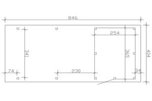 SKAN HOLZ Carport Emsland 404 x 846 cm mit EPDM-Dach, mit Abstellraum, natur