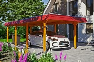 SKAN HOLZ Carport Wendland 362 x 870 cm mit EPDM-Dach, rote Blende, eiche hell
