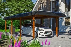 SKAN HOLZ Carport Wendland 362 x 870 cm mit EPDM-Dach, schwarze Blende, nussbaum