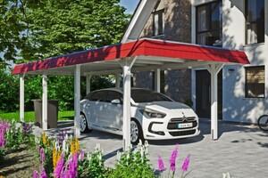 SKAN HOLZ Carport Wendland 362 x 870 cm mit Aluminiumdach, rote Blende, weiß