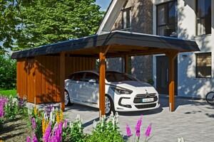 SKAN HOLZ Carport Wendland 362 x 870 cm mit Abstellraum, mit EPDM-Dach, schwarze Blende, nussbaum