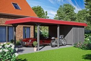 SKAN HOLZ Carport Wendland 409 x 870 cm mit Abstellraum, mit EPDM-Dach, rote Blende, schiefergrau