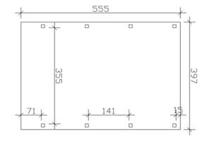 SKAN HOLZ Carport Friesland 397 x 555 cm mit EPDM-Dach, nussbaum