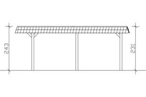 SKAN HOLZ Carport Wendland 362 x 628 cm mit Aluminiumdach, schwarze Blende, schiefergrau