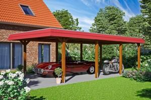 SKAN HOLZ Carport Wendland 409 x 870 cm mit Aluminiumdach, rote Blende, nussbaum