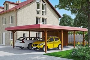 SKAN HOLZ Carport Wendland 630 x 879 cm mit Abstellraum, mit EPDM-Dach, rote Blende, nussbaum