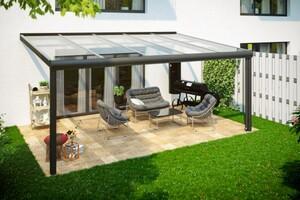 SKAN HOLZ Terrassenüberdachung Modena Größe 541 x 357 cm, Strukturpulverbeschichtet in anthrazit DB703