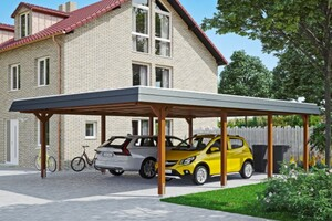 SKAN HOLZ Carport Wendland 630 x 879 cm mit Aluminiumdach, schwarze Blende, nussbaum